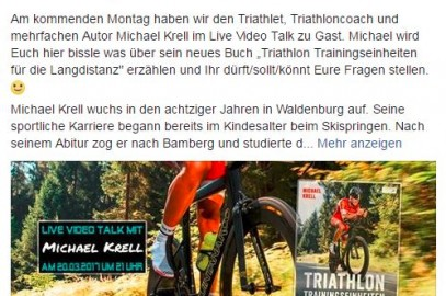 Facebook live Interview Montag 20.03. um 21:00Uhr – Triathleten in Deutschland